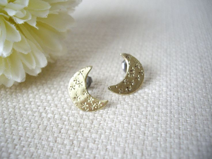 Gold crescent moon stud earrings with star stamped texture, Mixed metal earring…