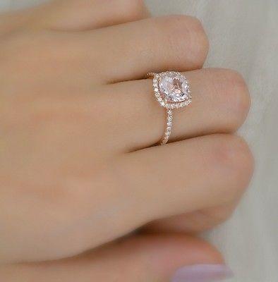2.30 Ct. Cushion Cut Halo Morganite & Diamond Engagement Ring 14K Rose Gold