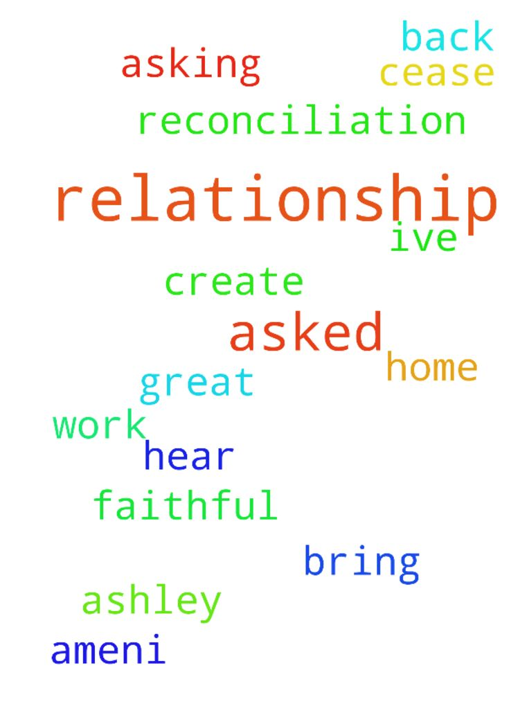 Relationship reconciliation prayers -  Dear Lord Jesus please hear my prayer. Ive asked you to bring Ashley back home to work on our relationship create a more faithful relationship. I asked this in Your Great Name amen.I will not cease asking for this request or Lord  Posted at: https://prayerrequest.com/t/JNT #pray #prayer #request #prayerrequest