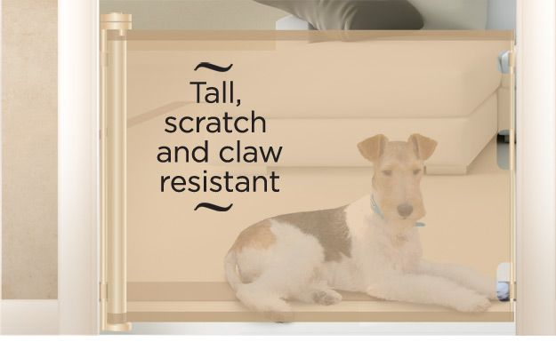 Retract-A-Gate United Kingdom (UK) ~ Retractable Dog Gate by Smart Retract, gate overview. An easy to use wide retractable safety gate for indoors or outdoors and certified for use at the top and bottom of stairs.