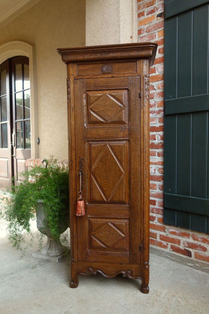 Antique French Carved Oak Cabinet Armoire Bonnetiere SLIM Bookcase Linen Closet #FrenchCountry