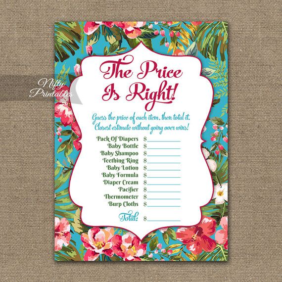 Price Is Right Baby Shower Game  Hawaiian Baby Shower Game