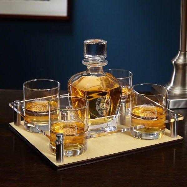 Police Badge Whiskey Glasses Liquor Decanter Zazzle Com Whiskey Decanter Set Decanter Whiskey Decanter