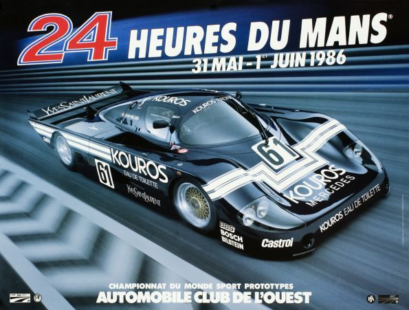The poster for the 1986 24 Hours of Le Mans race featured the Sauber C8, a Group C prototype racecar introduced in 1985 for the #LM24. For1986, the team became known as KourosRacing.