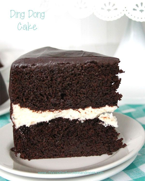 Ding Dong Cake-rich devil's food cake. a vanilla cream filling and smothered in chocolate ganache!