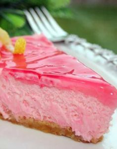 Recipe for Pink Lemonade Cheesecake - It only takes a few minutes to put together, and it is so refreshing! Cheesecake Extraordinaire!