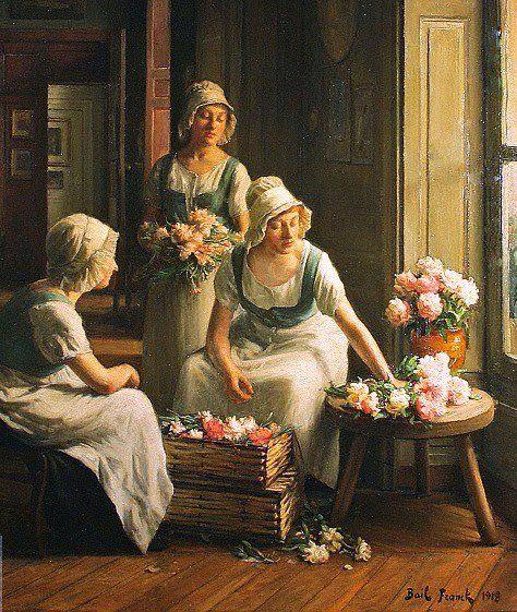 Franck Antoine Bail (francés, 1858-1924) - El Centro de flores 1918