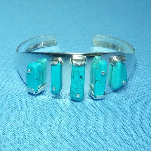 Bracelet jonc maya en argent et turquoises