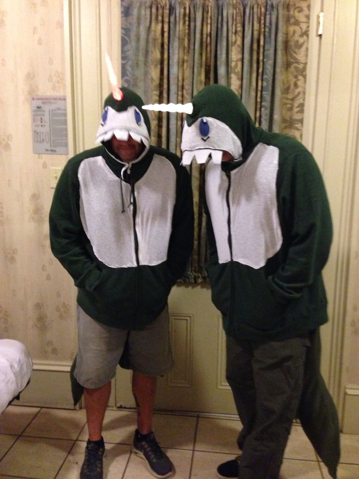 DIY Narwhal costumes made with a green zip up hoodie with felt and fabric. The guys had the narwhal song playing in the pocket with a portable small speaker. Light up horn was purchased from Amazon for @ $15
