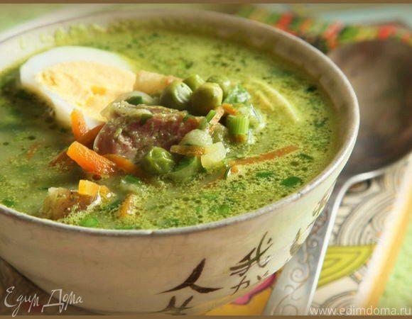 Легкий суп «Изумрудный» Такой суп можно приготовить с бульоном или на воде. Количество шпината зависит от того, насколько насыщенное блюдо вы хотите получить в итоге. Подавайте к столу суп, дополнив каждую порцию колбасками и вареными яйцами. Очень вкусно и по-домашнему. #суп #обед #готовимдома #едимдома #кулинария #домашняяеда #шпинат #легкийсуп #легкоеблюдо #яйцавареные #колбаски #вкусноеблюдо
