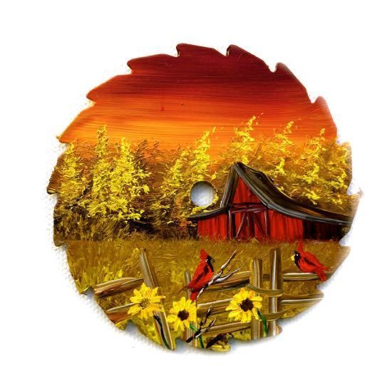 Hand Painted Miniature Round Saw Magnet  Sunset Cardinals Red Barn Sunflowers