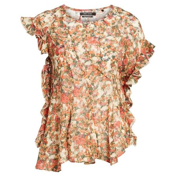 Women's Isabel Marant Fliren Ruffle Print Blouse ($565) ❤ liked on Polyvore featuring tops, blouses, red, frilly blouse, beige blouse, floral tops, floral blouse and red top