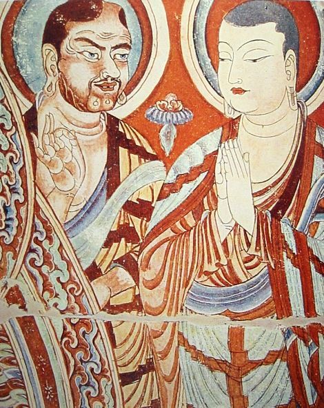 Blue-eyed Central Asian Buddhist monk, with an East-Asian colleague, Tarim Basin, 9th-10th century