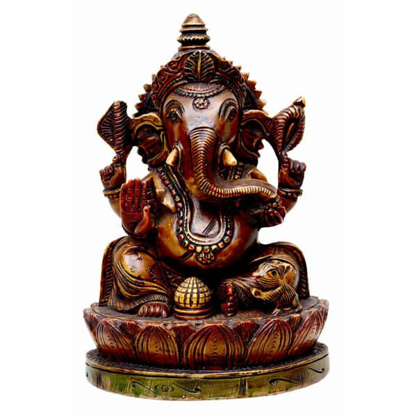 Material Used -  Resin This is a statue of Lord Ganesha is a perfect gift for your friends and family on the occasion of Diwali. After carving the statue is polished with brown color. Modak and mouse are also being made on ...