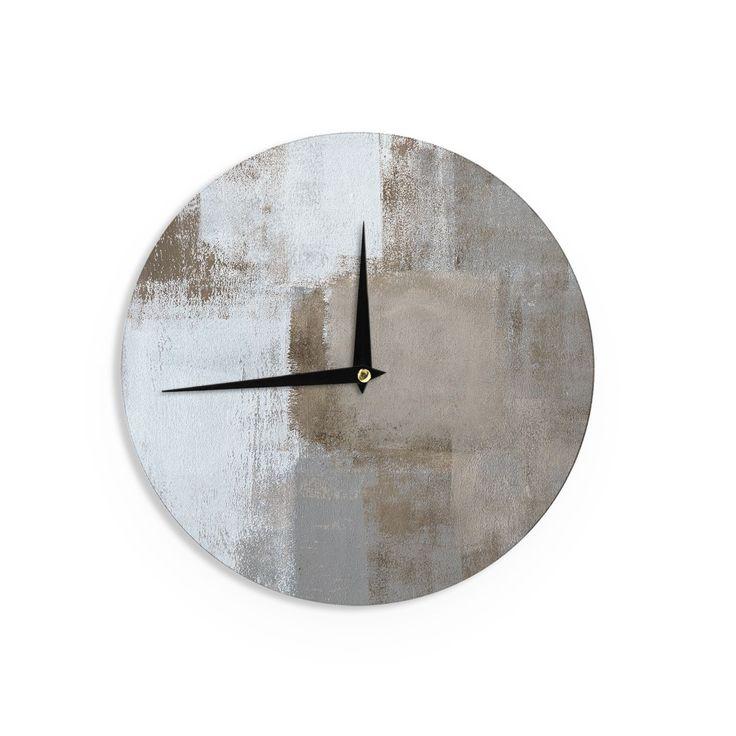 Kess InHouseCarolLynn Tice 'Calm and Neutral' Wall Clock (Calm and Neutral), Grey (Wood)