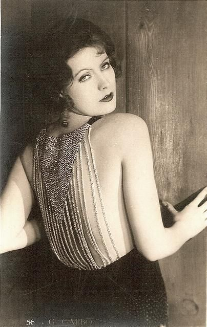 Greta Garbo, love the detail in the back of the dress.