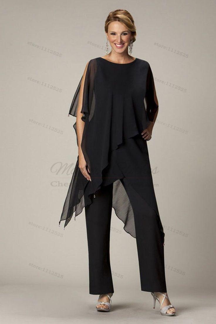 Elegant wedding pant suits - Black Elegant Elastic Waistband Pants Mother Of The Bride Outfit Cmo 012