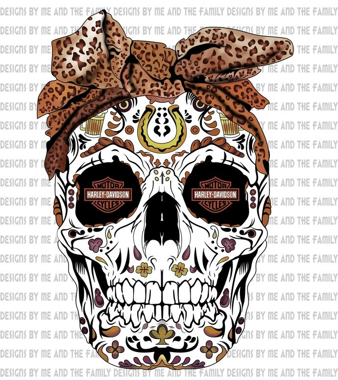 Harley Davidson Sugar Skull Cheetah Print Head Bow My Ride Or Die May The Wind Always Be At Your B Sugar Skull Art Drawing Sugar Skull Images Vinyl For Cars