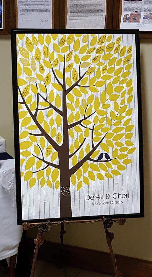 Whitewashed Wooden Wedding Tree | Guest Book Alternative | Signed Peachwik Tree | Rustic Wedding | Customer Photo | Wedding Colors - Yellow & Navy | peachwik.com