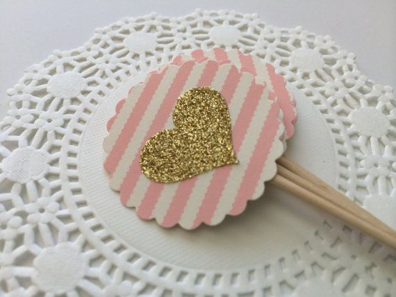 25 Heart Cupcake Toppers in Pink/Ivory Stripe Scallop with Gold Glitter Heart. Birthday Party, Bridal Shower, Pink and Gold. Food Pick. on Etsy, $25.50