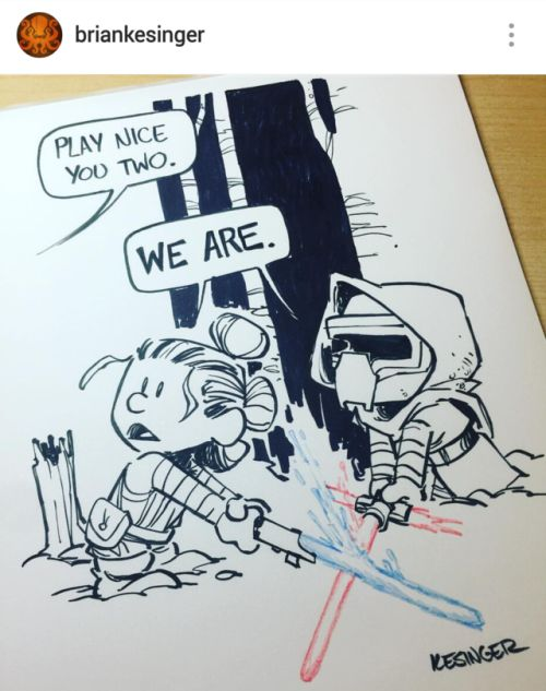 "renpressrey: ""Lil Rey and Lil Kylo by Brian Kesinger - naughty but nice  """