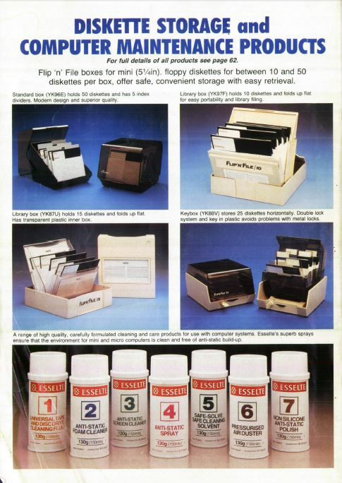 Diskette Storage and Computer Maintenance Products - Retro Advert from Maplin - Nice Disk boxes! 3.5 inch 5 1/4 inch disks diskettes