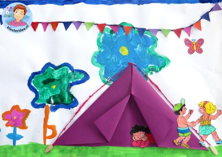 Collage maken met kleuters thema camping , kleuteridee, voor free printables zie de website.