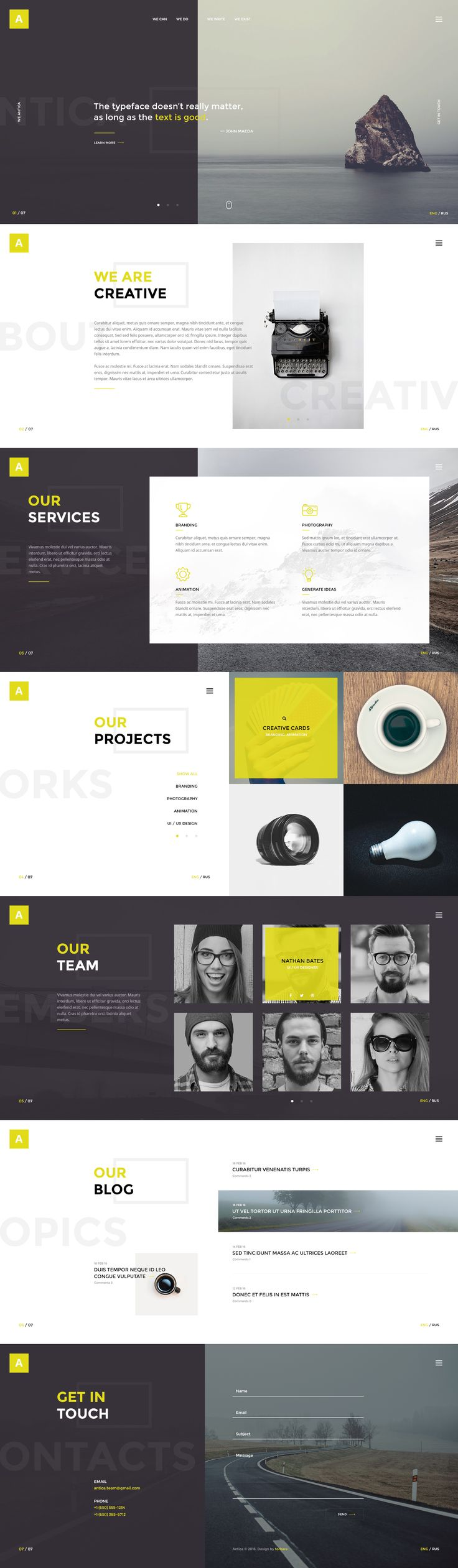 Antica — Multipurpose Business Agency/Personal Portfolio PSD Template by torbara