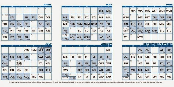 2015 Chicago Cubs Schedule