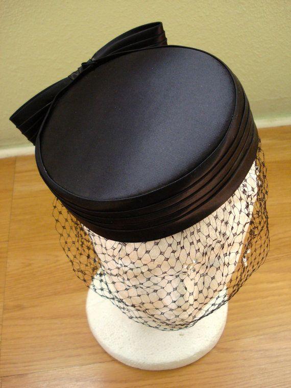 Vintage 1950s Pillbox Hat Black Satin 201473