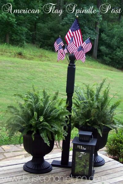 Flag Spindle Post: The Holidays, Decks, Shells Crafts, Fourth Of July, Cute Ideas, American Flags Outside, 4Th Of July, Flags Pole, Ferns