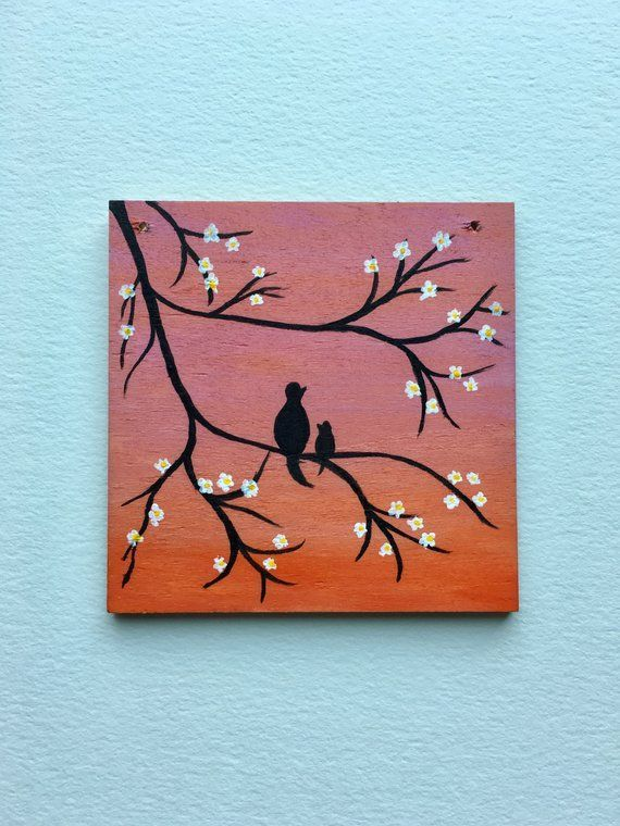 Mama & Baby Tiny Wood Painting | Acrylic Wood Wall Art | Pink Orange Ombre Wall …
