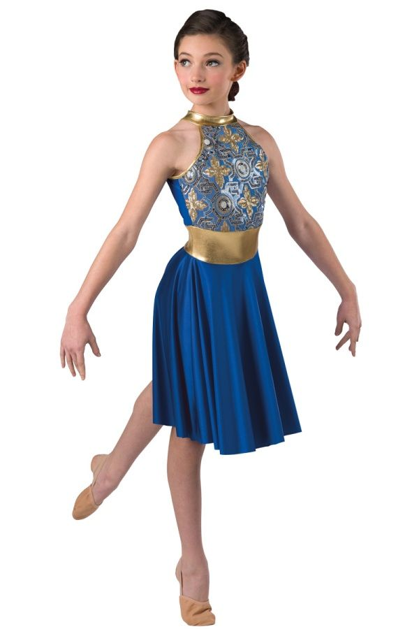 Style# 17371 SAPPHIRES  Royal spandex leotard with sequin on mesh overlay and gold metallic spandex neckband, insert and binding trim. Attached royal poly spandex skirt. Headpiece included. SC-XXLA