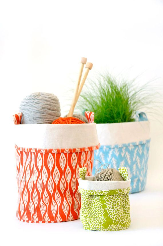 Recycled Cotton Canvas Bucket Lattice Green LARGE by chewingthecud