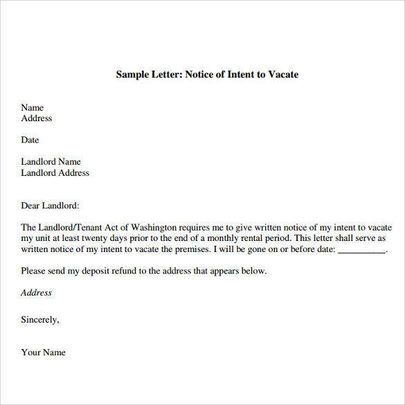Notice To Vacate Letter Being A Landlord Lettering Letter Templates