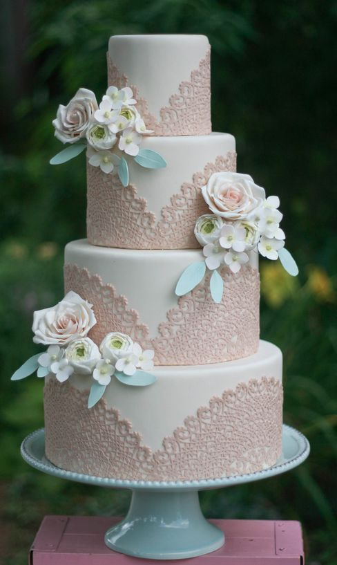 Vintage Wedding Ideas- white and sand pink lace wedding cake