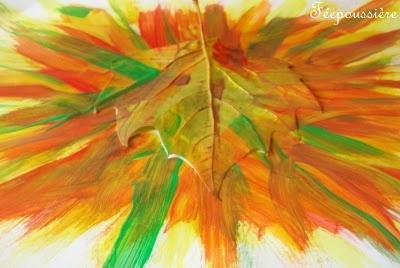 peinture à partir de feuilles