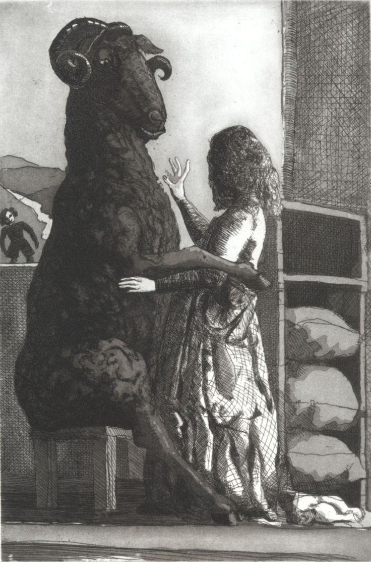 Paula Rego (1935 − ).  BAA, BAA, BLACK SHEEP 1989. Etching with aquatint.