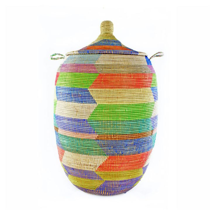 A colorful basket is a great choice for a nursery or playroom, offering blanket, block, or toy storage. #home #decor #organization