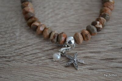 Perlen Armband mit 925 Sterling Silber Seestern von schmuckoase auf Etsy