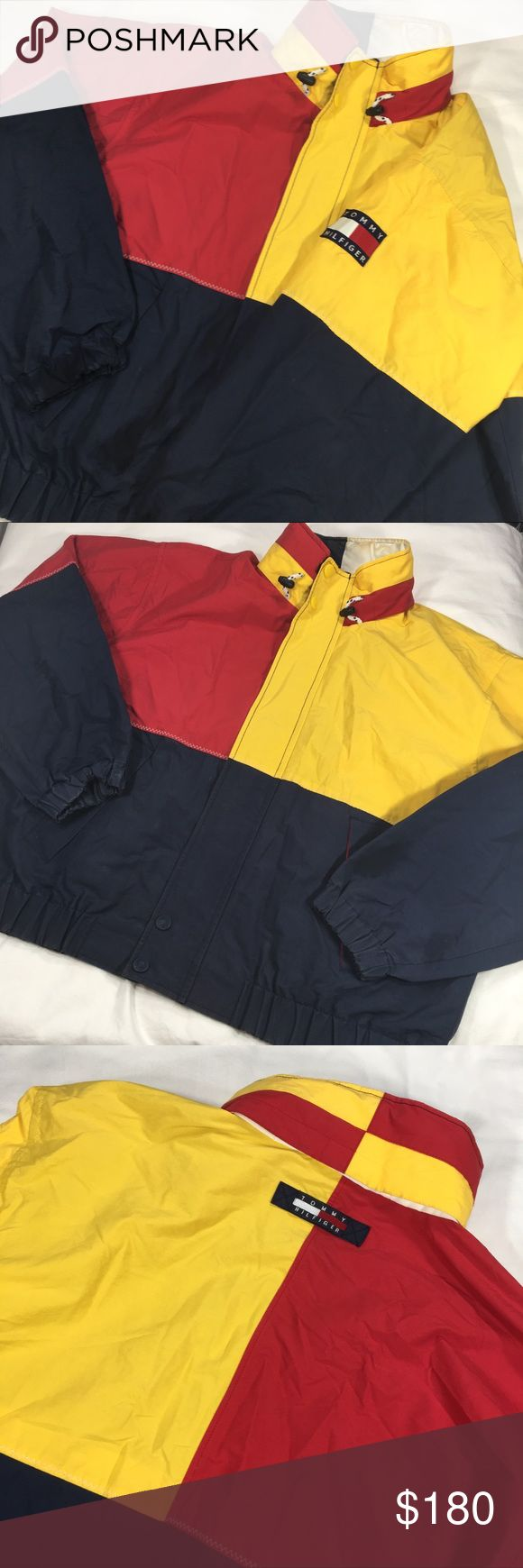 Tommy Hilfiger VTG 90s Colorblock Yacht Jacket Gently worn. No flaws. Hidden hood. Easily roll and unroll hood. Tommy Hilfiger Jackets & Coats