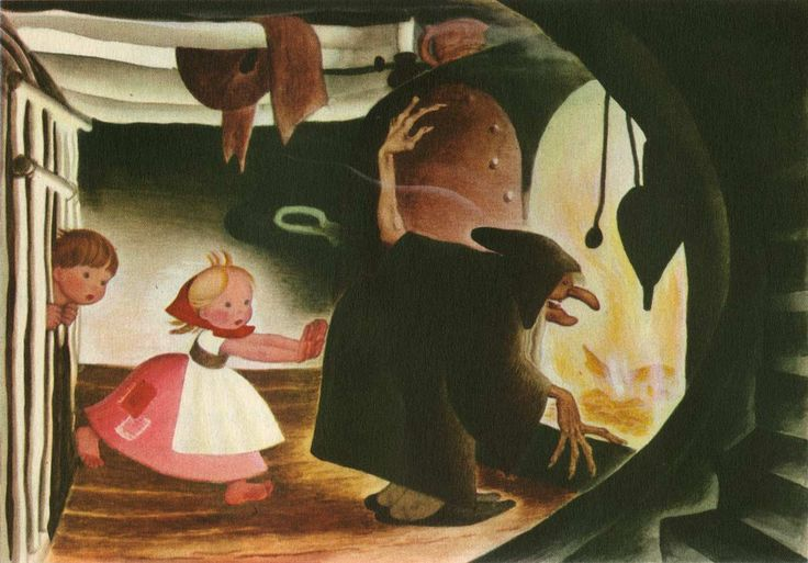 Gustaf Tenggren ~ Hansel and Gretel, The Oven ~ The Tenggren Tell-It-Again Book ~ adapted by Katharine Gibson ~ Little, Brown & Co ~ 1942