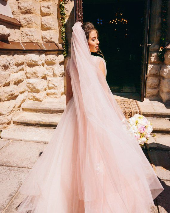 Blush Pink Wedding Veil Bridal Veil Soft Wedding Veil Fingertip