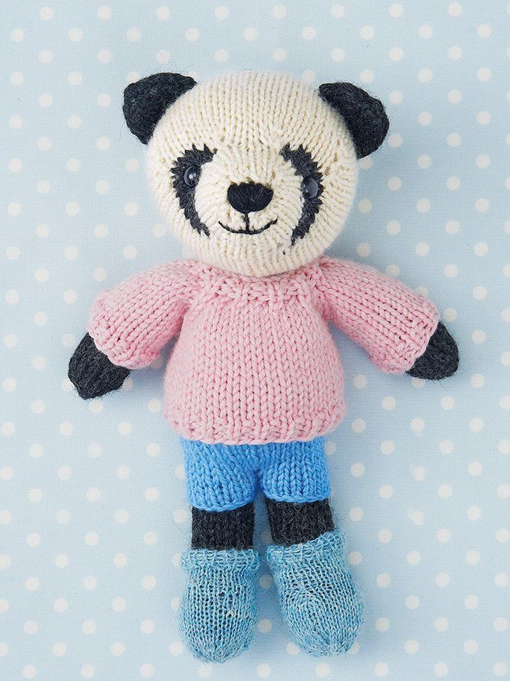 Free knitting pattern for Riley the Panda by Rachel Borello #ad Toy softie bear knitted flat on two needles with clothes. tba