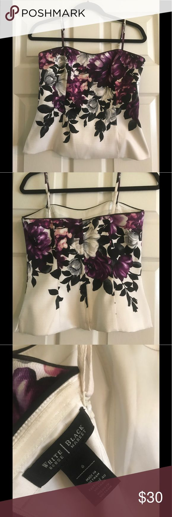 White House Black Market corset top White corset top with beautiful purple flowers. White House Black Market Tops