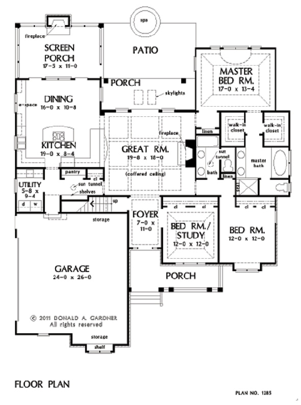 House Room Drawings: The Marley House Plan # W-GOO-1285