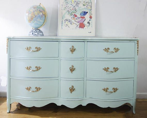 $590 - French Provincial Dresser Mint Green Dresser 1960s