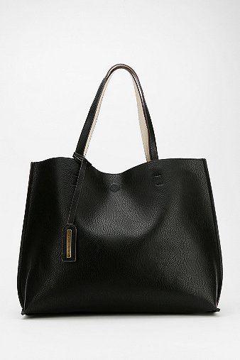 LAPTOP BAG - Reversible Vegan Leather Oversized Tote Bag $59 BLACK