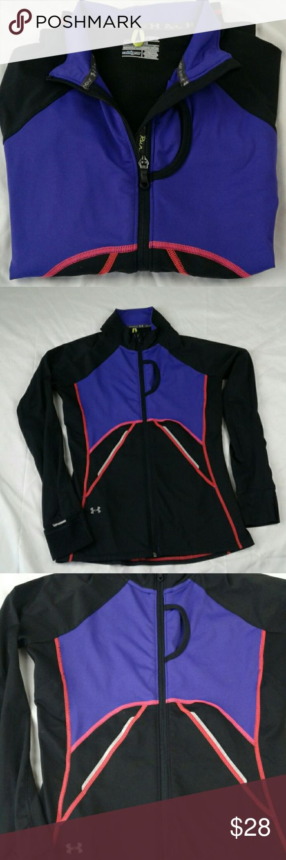 Gently Used  women UNDER ARMOU jacket Gently Used. Semi fitted running women  jacket. Size Xsmall. With full front zipper. Very light and stretchy with cute back pocket with zipper. Under Armour Jackets & Coats