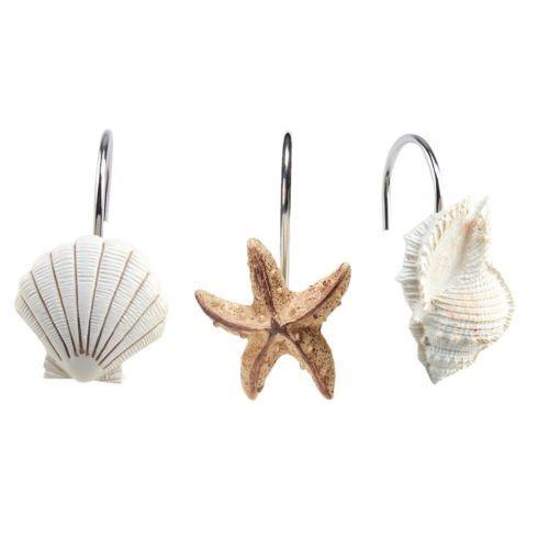 Bathroom Fashion Decorative Seashell Shower Curtain Hooks 12 Pcs